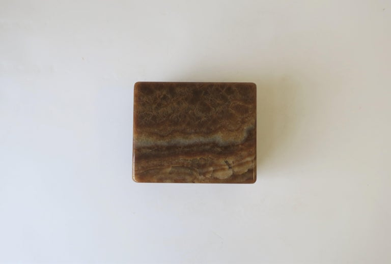 Modern Onyx Marble and Brass Jewelry Box from Belgium In Good Condition For Sale In New York, NY
