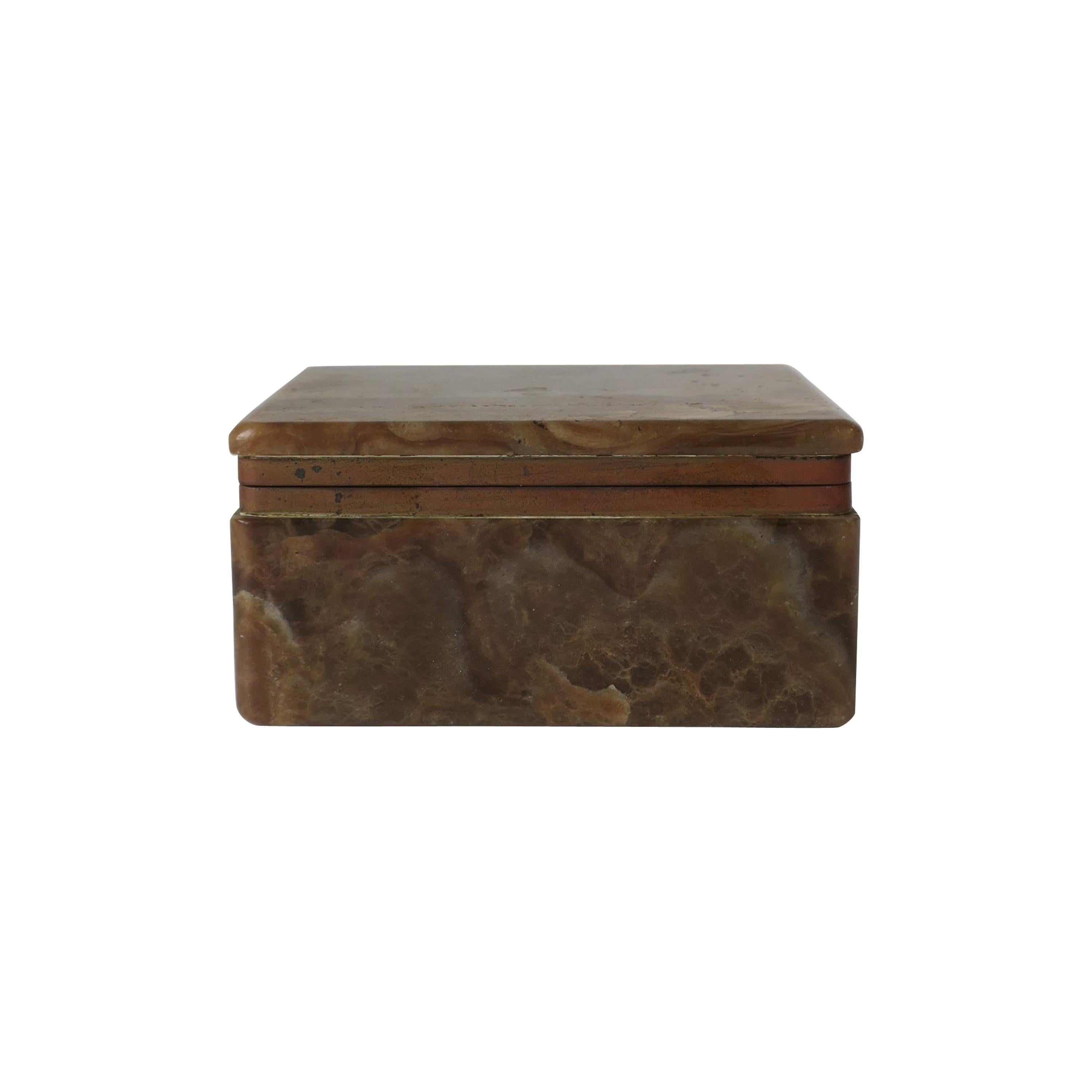 Modern Onyx Marble and Brass Jewelry Box from Belgium