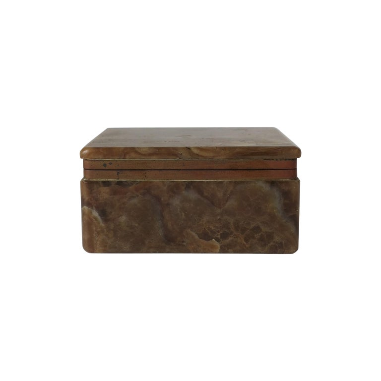 Modern Onyx Marble and Brass Jewelry Box from Belgium For Sale