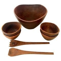 Vintage Modern Organic Form Teak Serving Bowl Set of Seven Pieces