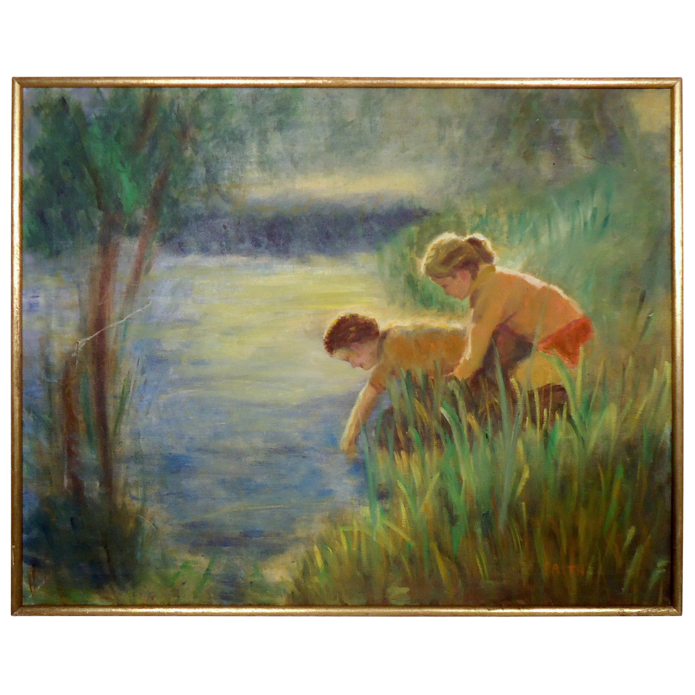 Vintage Modern Painting of Boy and Girl
