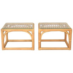 Vintage Modern Pair of Rattan Rectangular Side Tables or End Tables w/ Glass Top