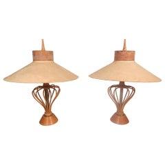 Vintage Modern Pair of Wood-Rod Lamps