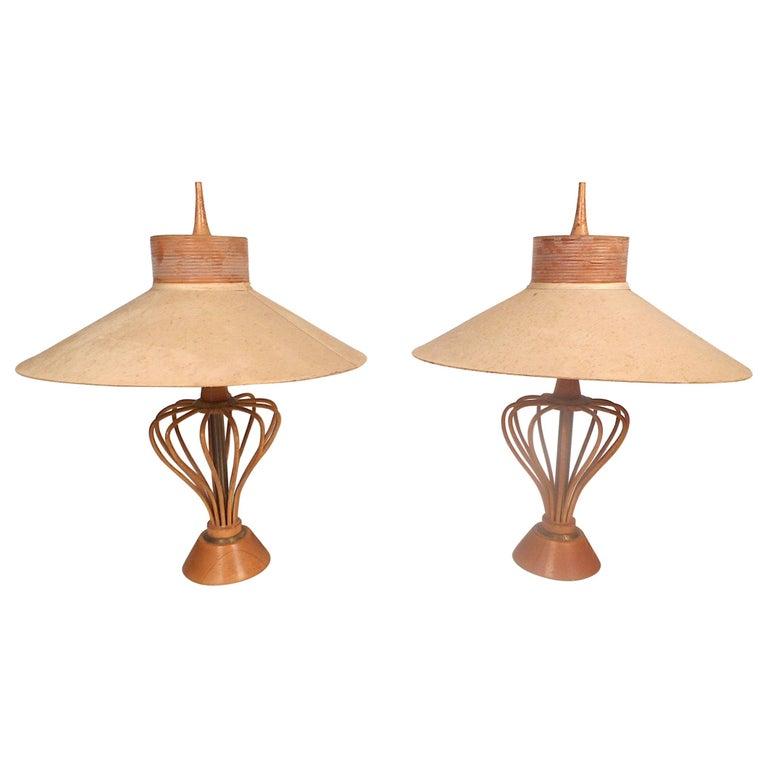 Vintage Modern Pair Of Wood Rod Lamps