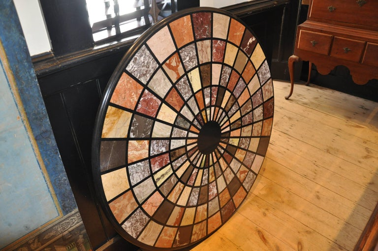 Vintage Modern Pietra Dura Specimen Marble Coffee Table with Iron Base In Excellent Condition For Sale In Essex, MA