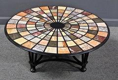 Vintage Modern Pietra Dura Specimen Marble Coffee Table with Iron Base