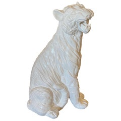 Vintage Modern Plaster White Lacquered Large Sitting Tiger Cat Statue Italian