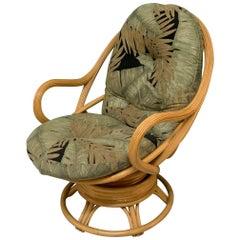 Vintage Modern Rattan Swivel Mamasan Bucket Lounge Chair