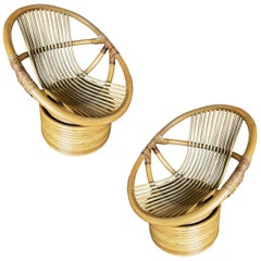 Vintage Modern Rattan Swivel Mamasan Bucket Lounge Chair, Pair