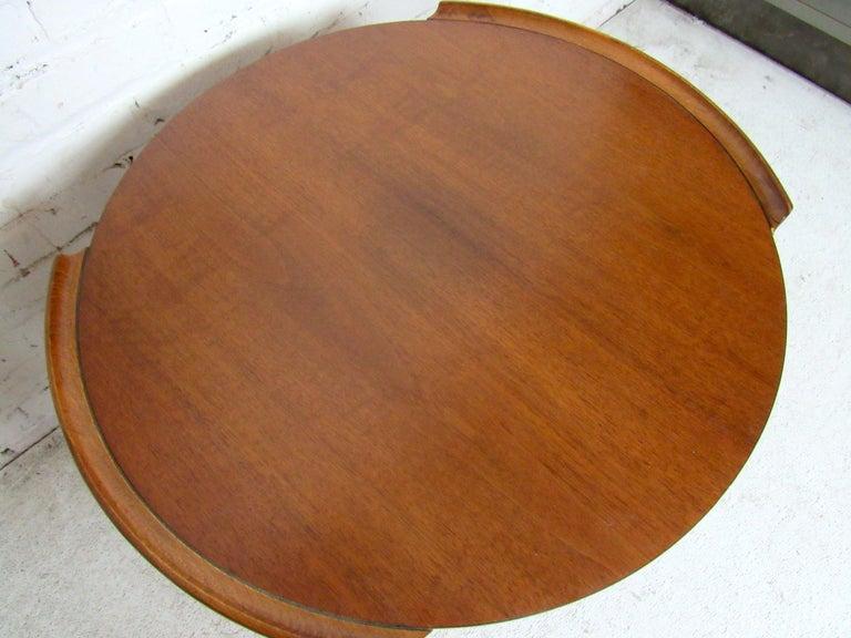 Walnut Vintage Modern Round Side Table by Lane