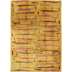 Vintage Modern Rug with Yellow Background and Multicolored Etched Pattern