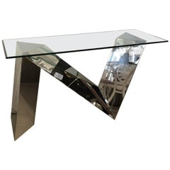 Vintage Modern Stainless Steel Chrome Polished Zig Zig Console Table