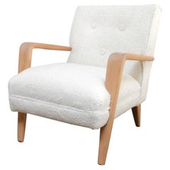 Vintage Modern Style Chair with White Oak Arms and Faux Sheep Upholstery