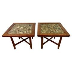 Vintage Modern Teak and Rock Resin Tables Designed by Arvid Haerum