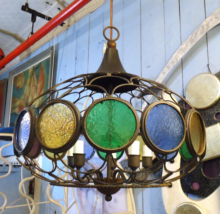 Vintage Modern Three Globe Chandelier In Good Condition For Sale In Brooklyn, NY