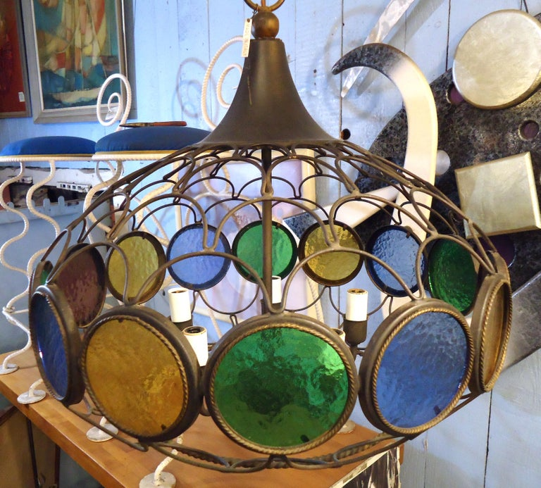 Mid-20th Century Vintage Modern Three Globe Chandelier For Sale