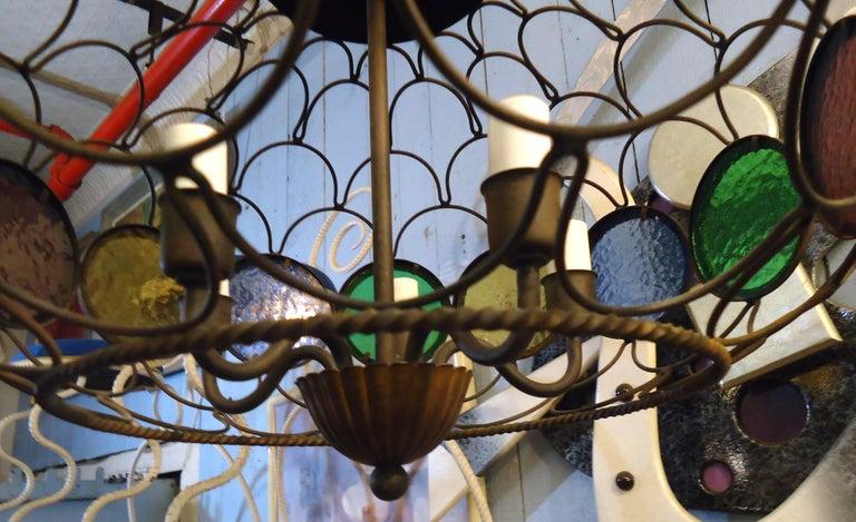 Metal Vintage Modern Three Globe Chandelier For Sale