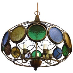 Vintage Modern Three Globe Chandelier