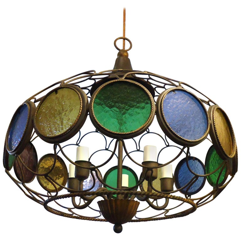 Vintage Modern Three Globe Chandelier For Sale