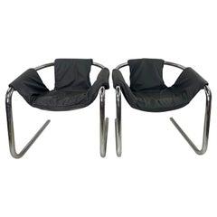 Vintage Modern Tubular Chrome Base Zermatt Chairs in Leather a Pair