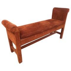 Vintage Modern Upholstered Settee Bench