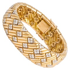 Vintage Modern Van Cleef & Arpels Diamond and Gold Cuff Bracelet with Box