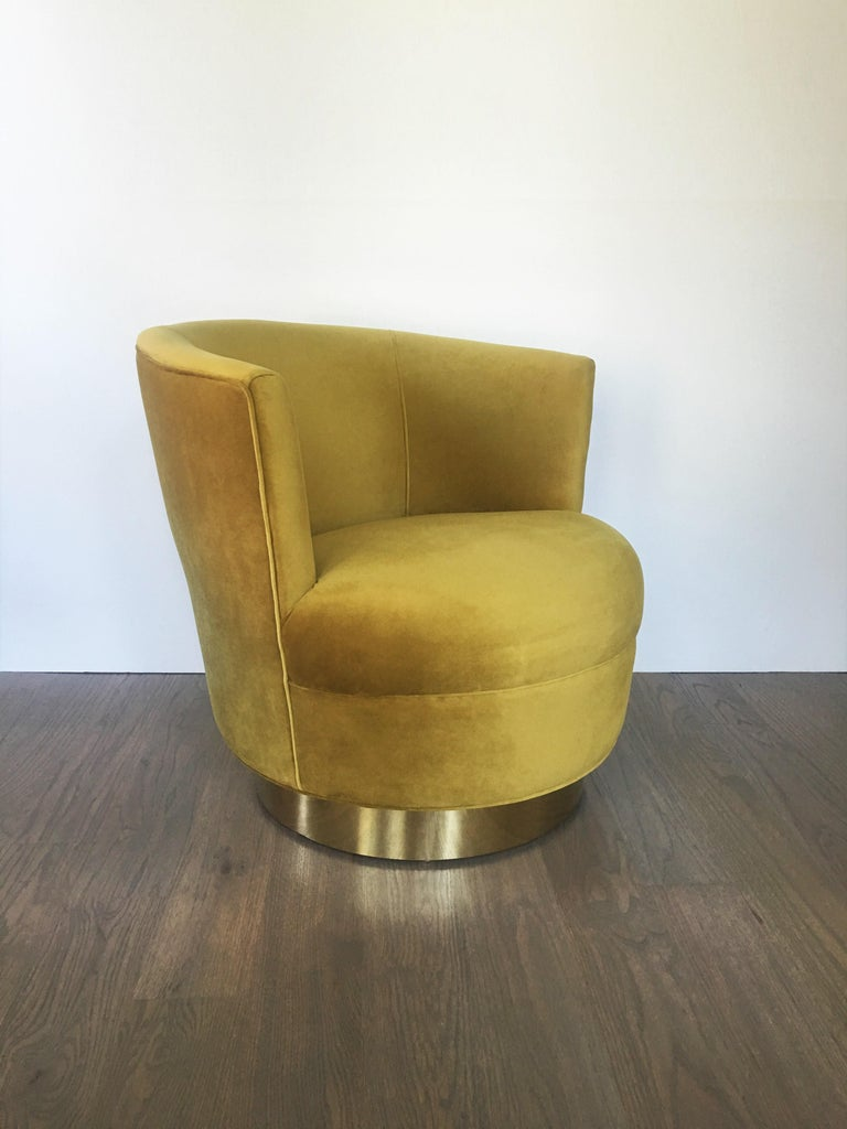 Mid-Century Modern Vintage Modern Velvet and Brass Swivel Club Chairs, Pair For Sale