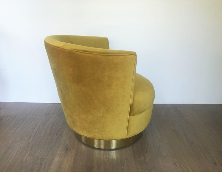 American Vintage Modern Velvet and Brass Swivel Club Chairs, Pair For Sale