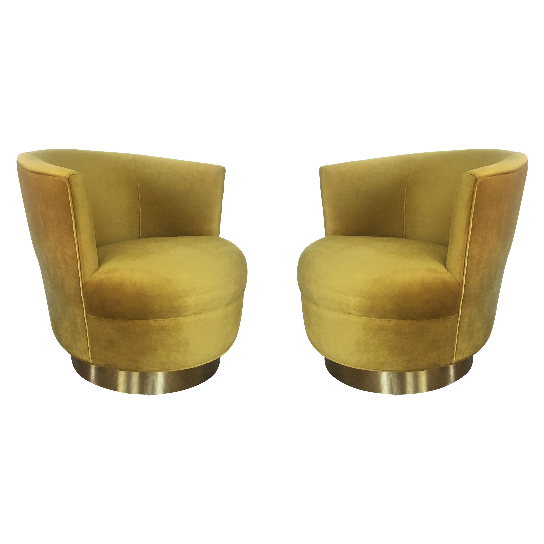 Vintage Modern Velvet and Brass Swivel Club Chairs, Pair