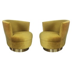 Vintage Modern Velvet and Brass Swivel Club Chairs, Pair