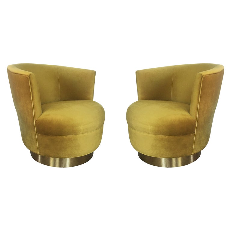 Vintage Modern Velvet and Brass Swivel Club Chairs, Pair For Sale