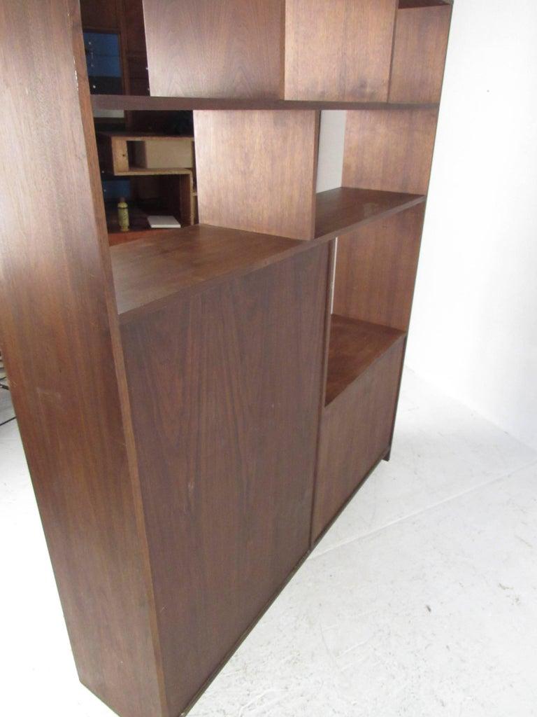 Vintage Modern Walnut Bookcase Or Room Divider For Sale At