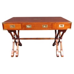 Vintage Modern Walnut Campaign Desk with Brass Accents