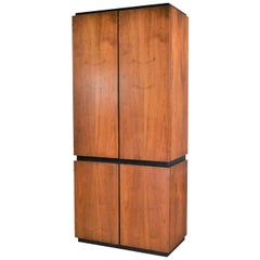 Vintage Modern Walnut Entertainment Cabinet Storage Armoire by Barzilay Furn Mfg