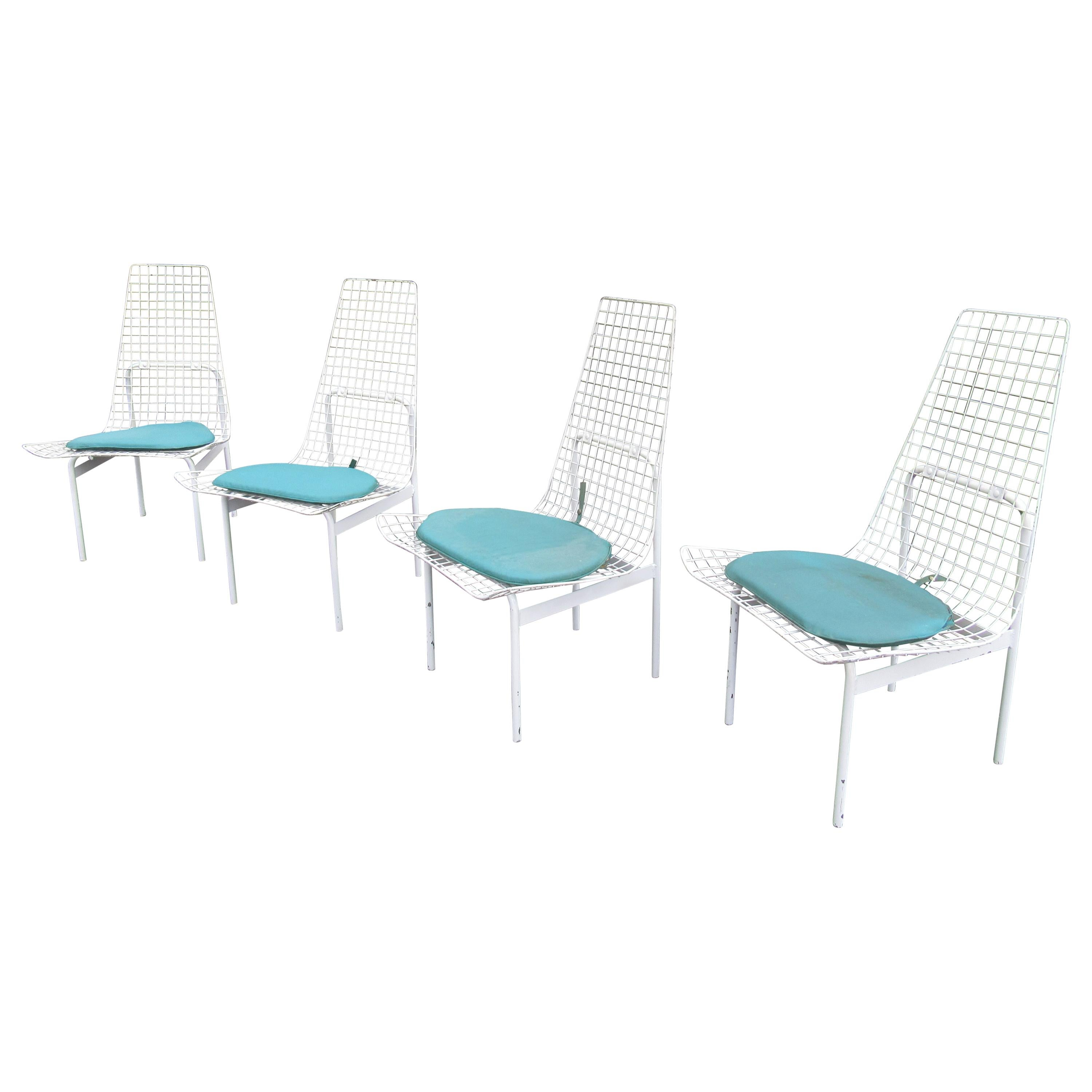Vintage Modern Wire Mesh Patio Chairs, Set of 4