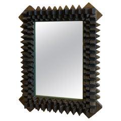 Vintage Modern Wood Geometric Carved Spheres Carved Wall Mirror