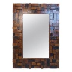 Vintage Modern Wood Slab Mirror