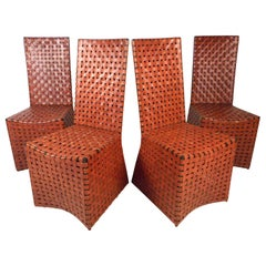 Vintage Modern Woven Leather Chairs, Set of 4