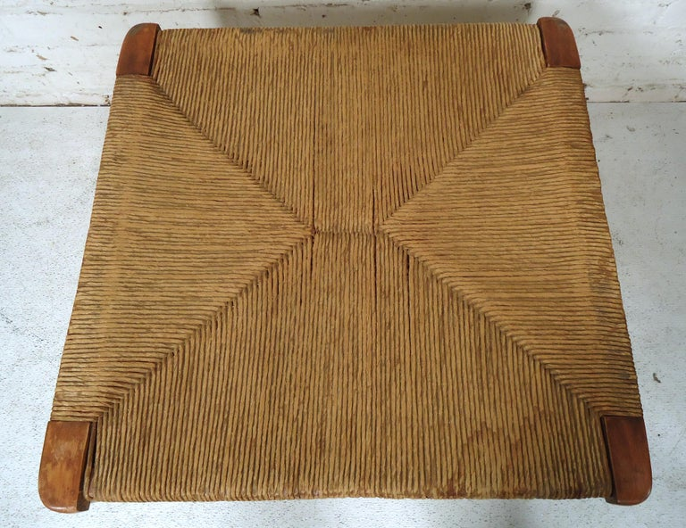Mid-20th Century Vintage Modern Woven Ottoman For Sale