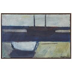 Vintage Modernist Boat Painting