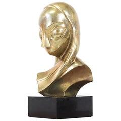 Vintage Modernist Brancusi Style Bust Sculpture
