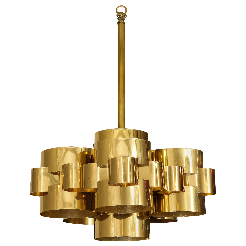 Vintage Modernist Cloud Chandelier in Brass by Curtis Jere