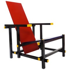 Vintage Modernist Design Rietveld Red & Blue Chair by Cassina, 1970s