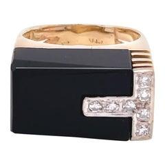 Vintage Modernist Diamond Onyx 14 Karat Gold Ring