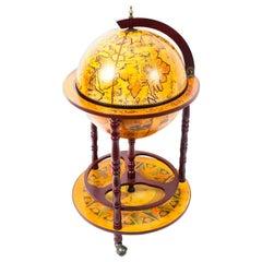 Vintage Modernist Globe Cocktail Cabinet Dry Bar Midcentury