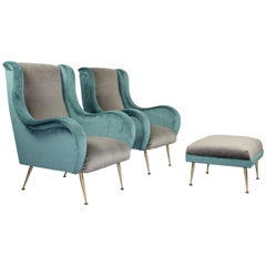 Vintage Modernist Important Armchairs, Zanuso Style, France, 1950s