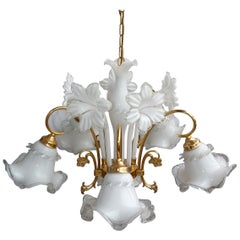 Vintage Modernist Italian Murano Art Glass Flower Bouquet Gilt Brass Chandelier