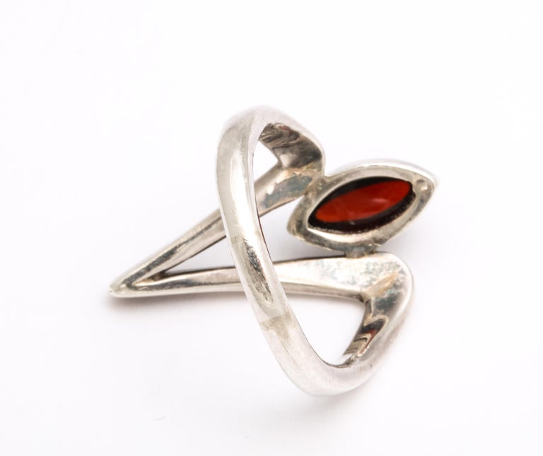 Women's or Men's Vintage Modernist Silver and Garnet Ring by Jack Nutting For Sale