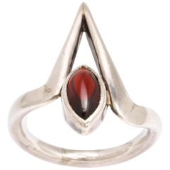 Vintage Modernist Silver and Garnet Ring by Jack Nutting