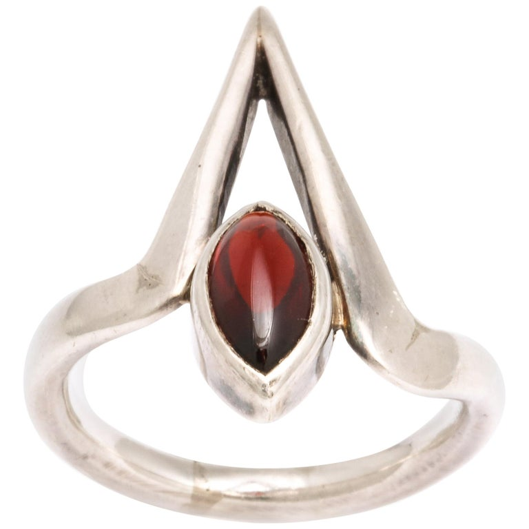 Vintage Modernist Silver and Garnet Ring by Jack Nutting For Sale